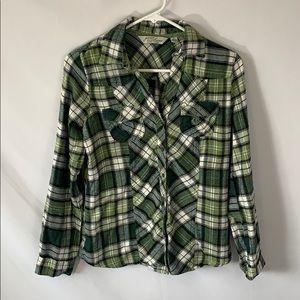 Great northwest green & white button down flannel